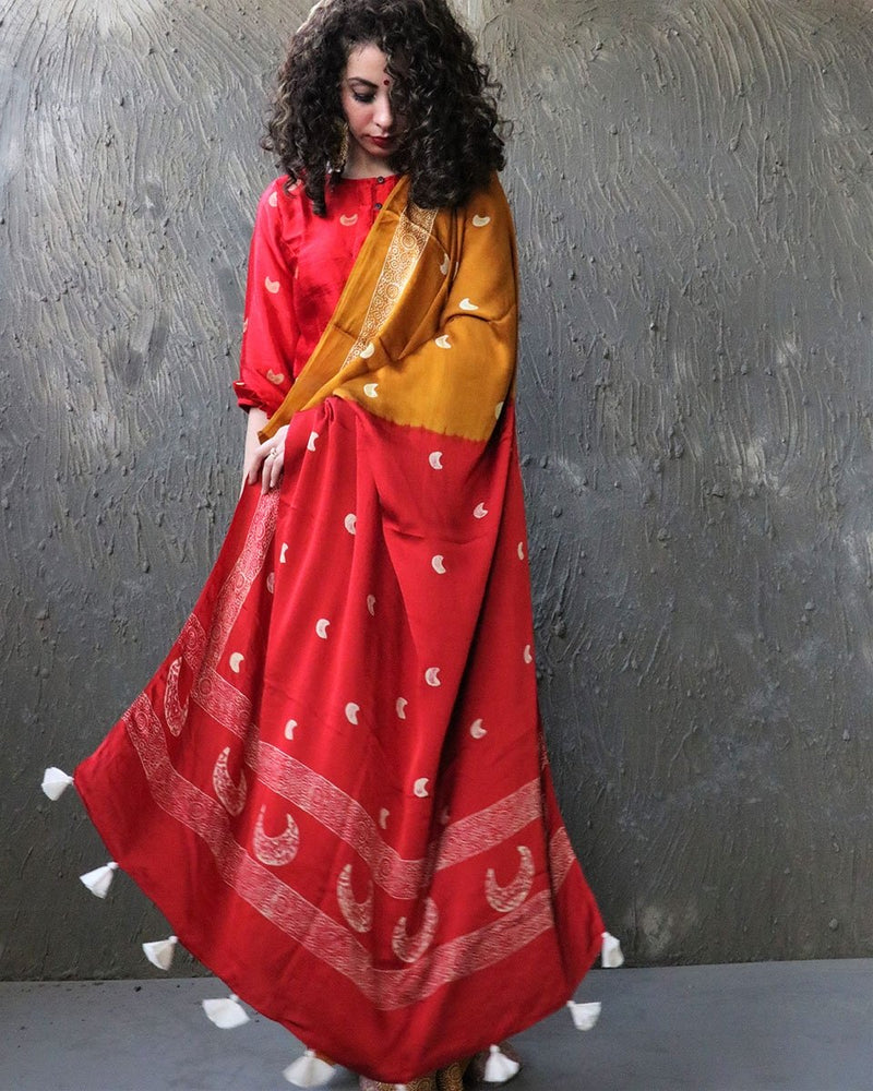 Yellow-Red BlockPrinted Modal Silk Saree