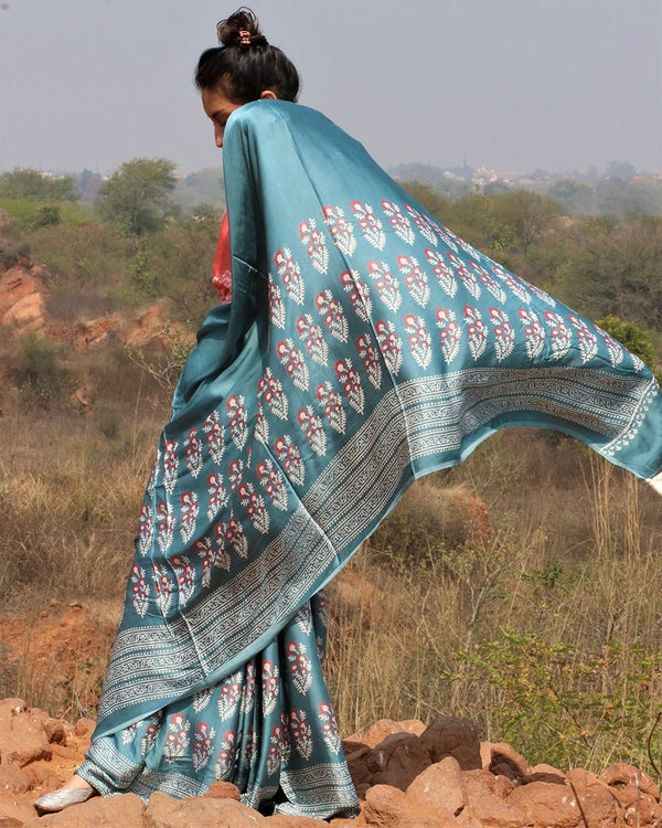 Sea blue blockprinted modal silk saree gul