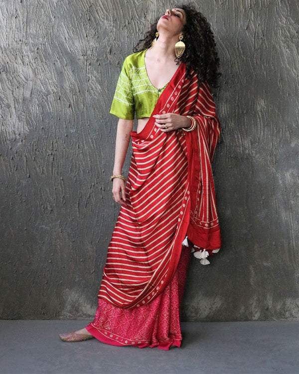 Red-Rani BlockPrinted Modal Silk Saree