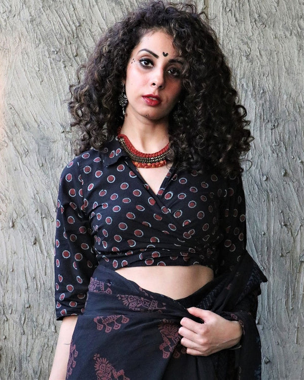 BLACK POLKA BLOCK PRINTED COTTON CROP TOP BLOUSE