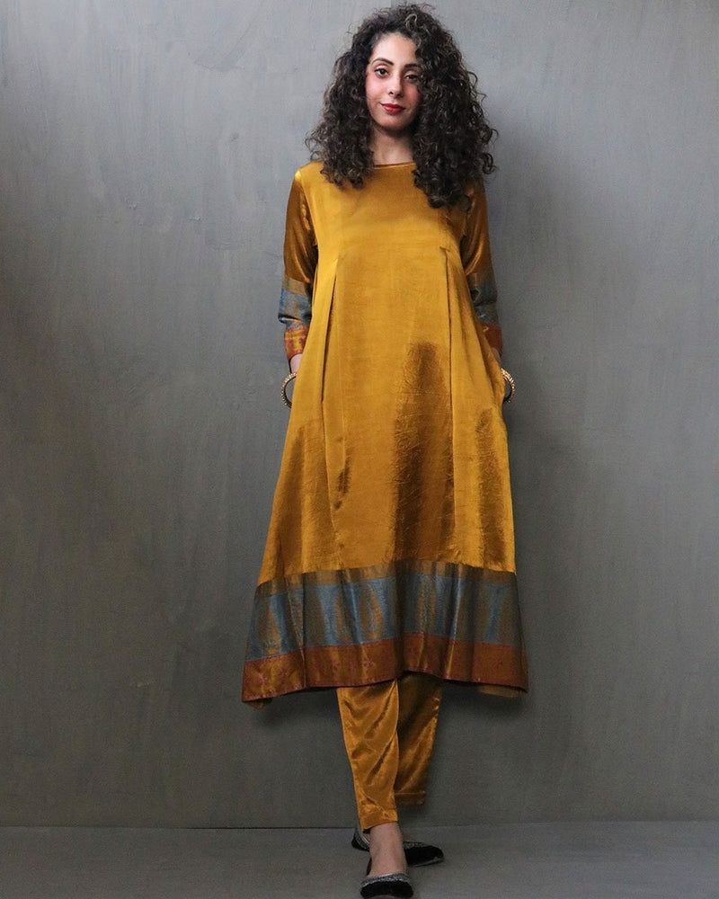 MUSTARD HANDPRINTED MASHRU SILK DRESS