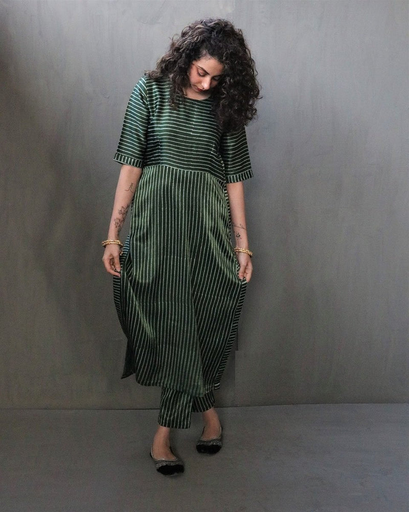 GREEN STRIPE HANDPRINTED MASHRU SILK KURTI