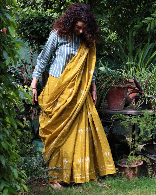Yellow blockprinted cotton mul saree gul