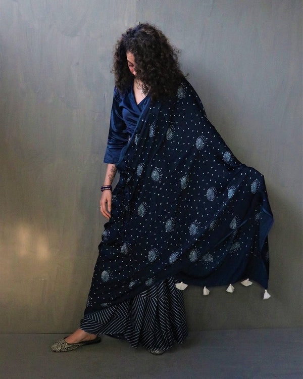 Luna, Hand dyed and hand blockprinted blues on cotton silk, one of its kind..