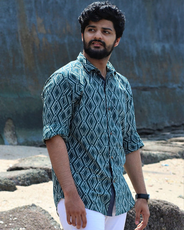 Sea Green Blockprinted Cotton Shirt