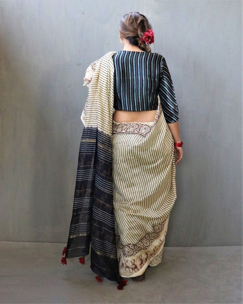 Cream-Black Block Printed Chanderi Silk Saree