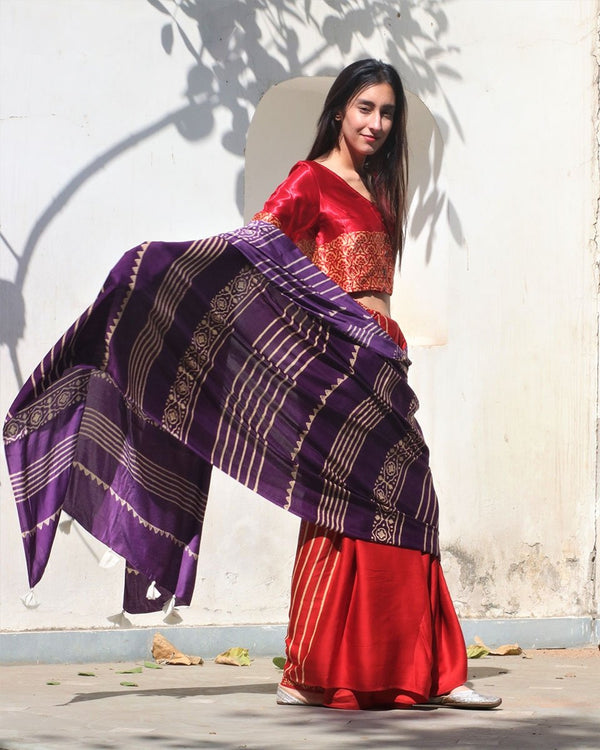 Purple-Red Block Printed Modal Silk Saree