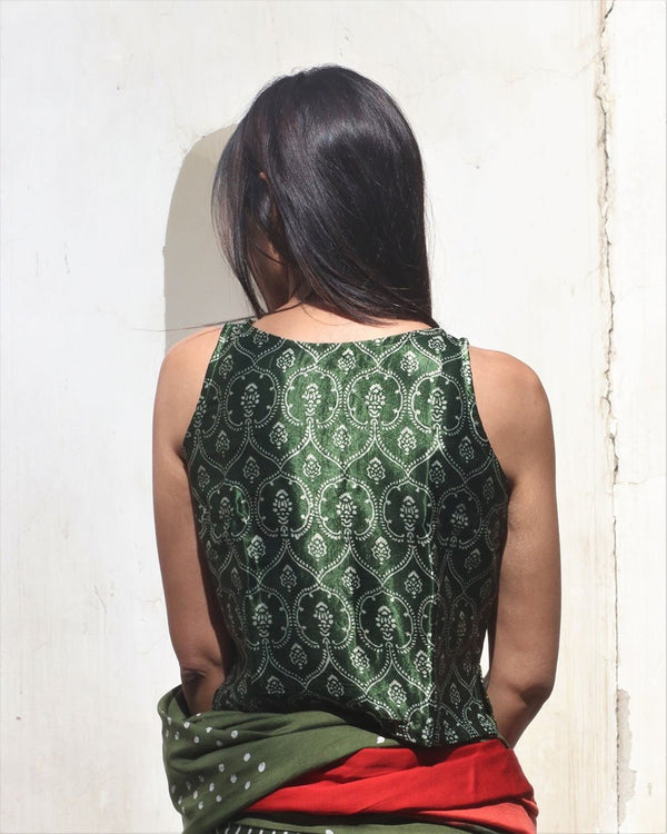 GREEN SLEEVELESS BLOCKPRINT MASHRU SILK CROP TOP BLOUSE