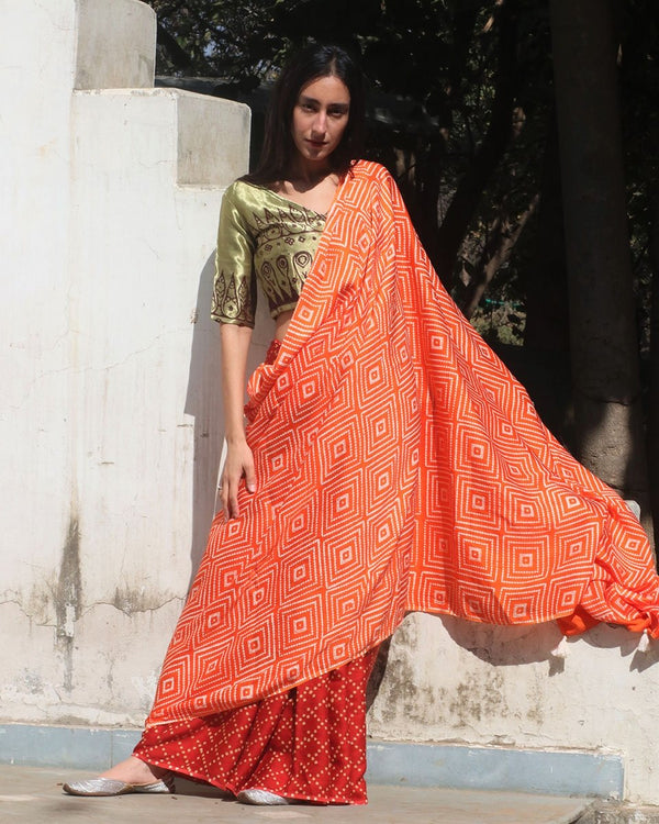 Orange-Red Block Printed Modal Silk Saree