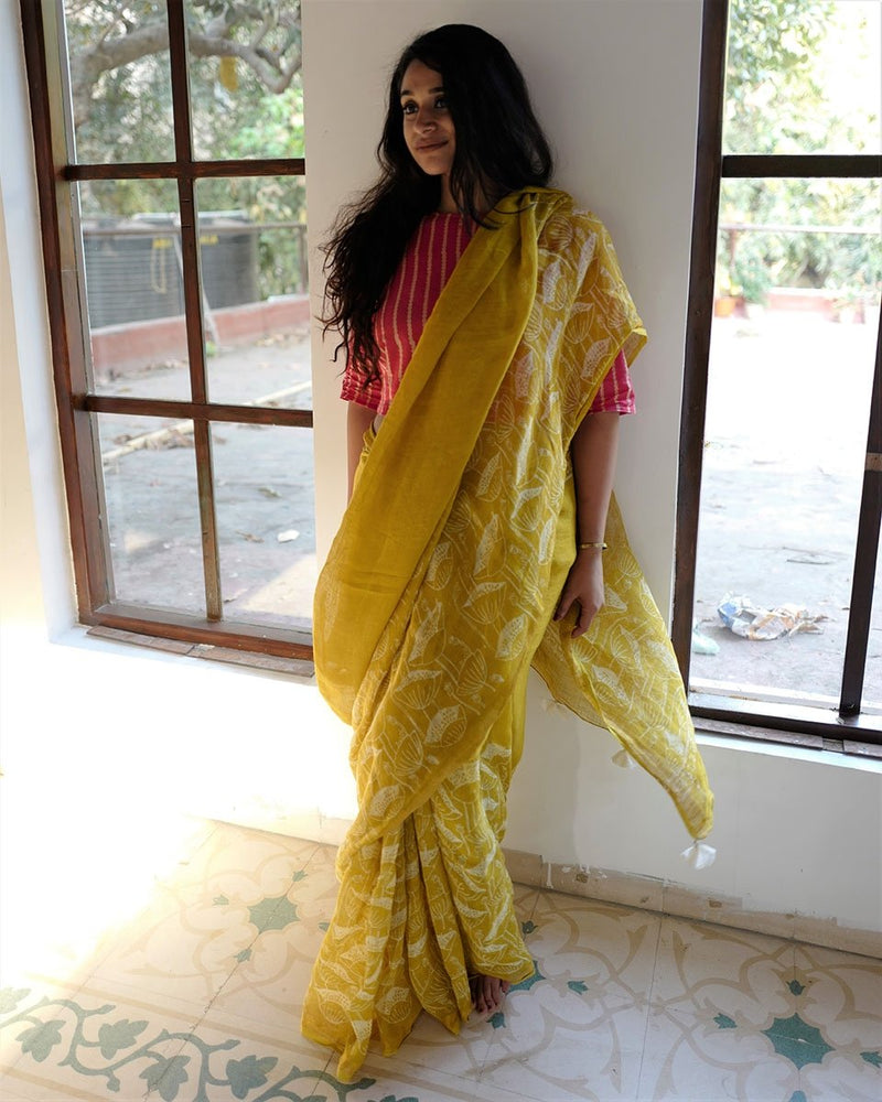Yellow  Bel Printed Pure Handwoven Linen Saree