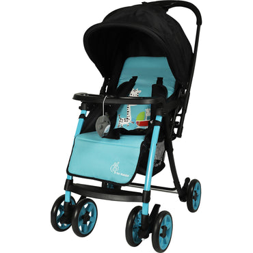 R for Rabbit Poppins Plus Pram- Baby Stroller and Pram for Baby with Mosquito Net and Hanging Toy ( Green Black )