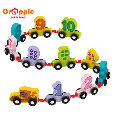 Orapple Wooden Number Train Pull Along Toys For Kids