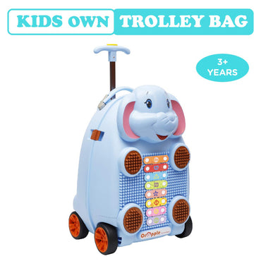 R for Rabbit Orapple Kids Trolley Bags - Cute 18 inch Travel Bags for Kids with Xylophone