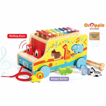 Orapple by R For Rabbit  4 in 1 Musical Safari Bus Multipurpose Toys for Kids