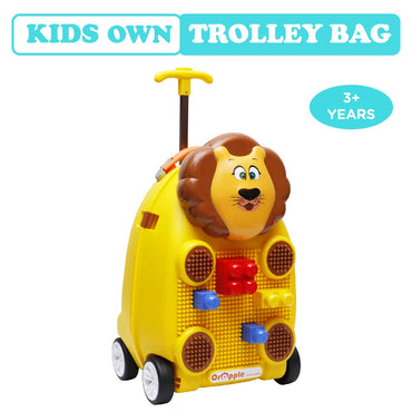 R for Rabbit Orapple Kids Trolley Bags - Cute 18 inch Travel Bags for Kids with Blocks