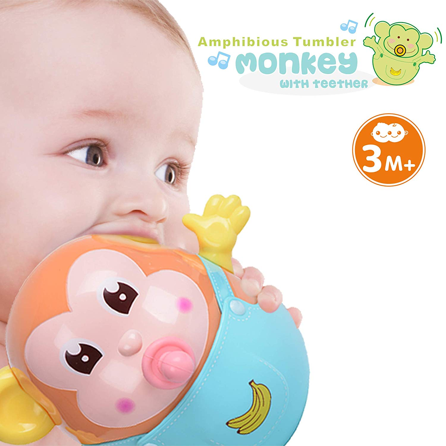 Orapple Toys Rolly Polly Bathing Teether Plus Rattle Toys for Kids with Sound