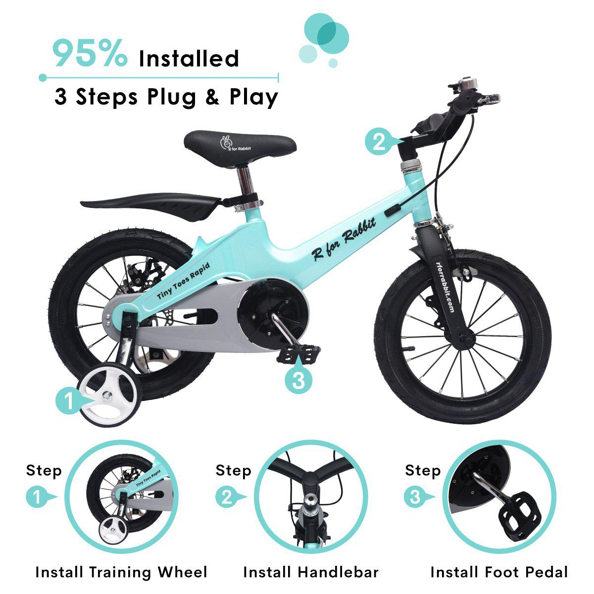 R for Rabbit Tiny Toes Rapid- The 14 Inch Smart Plug and Play Bicycle for Kids