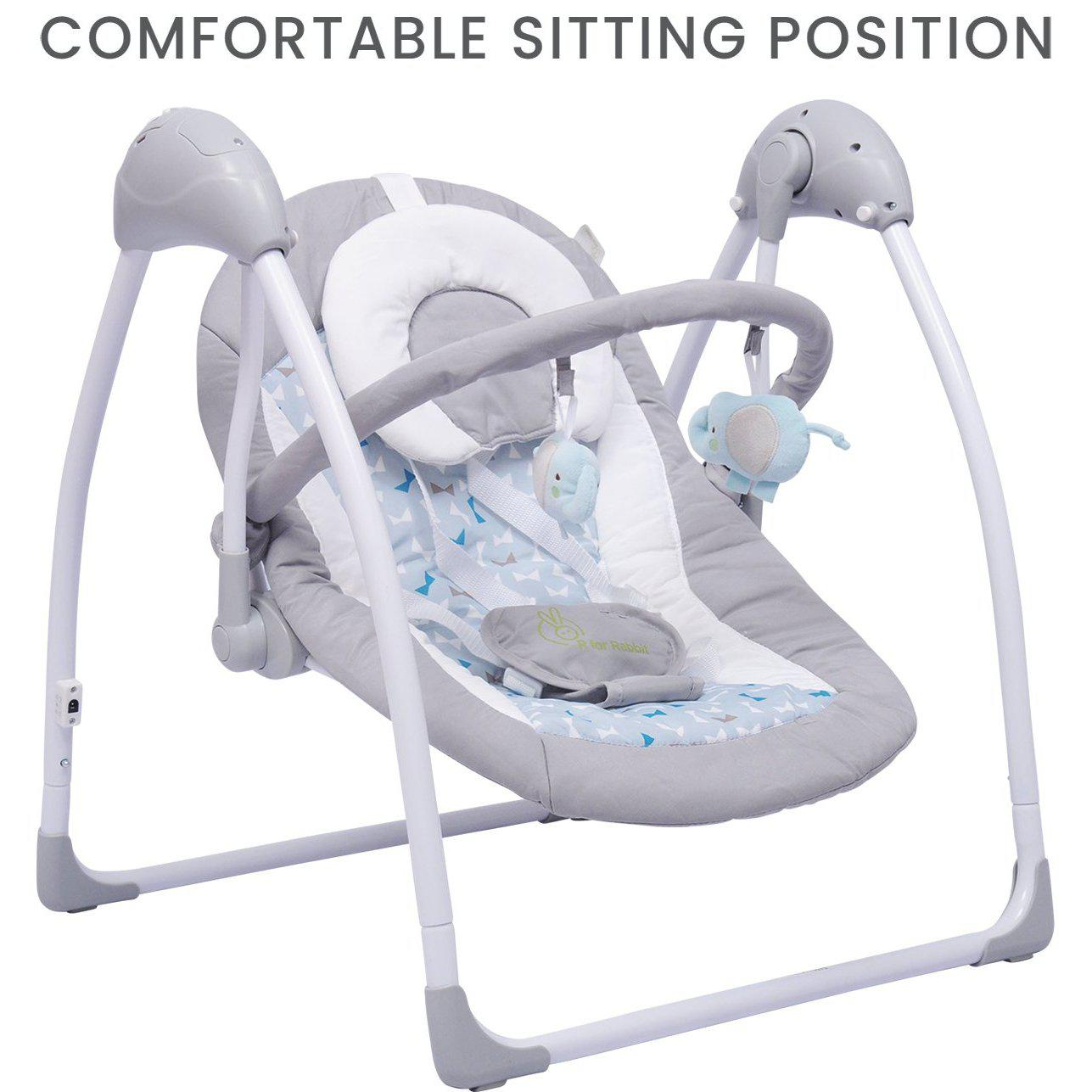 R for Rabbit Snicker - The Playful Automatic Baby Swing (Grey Blue)