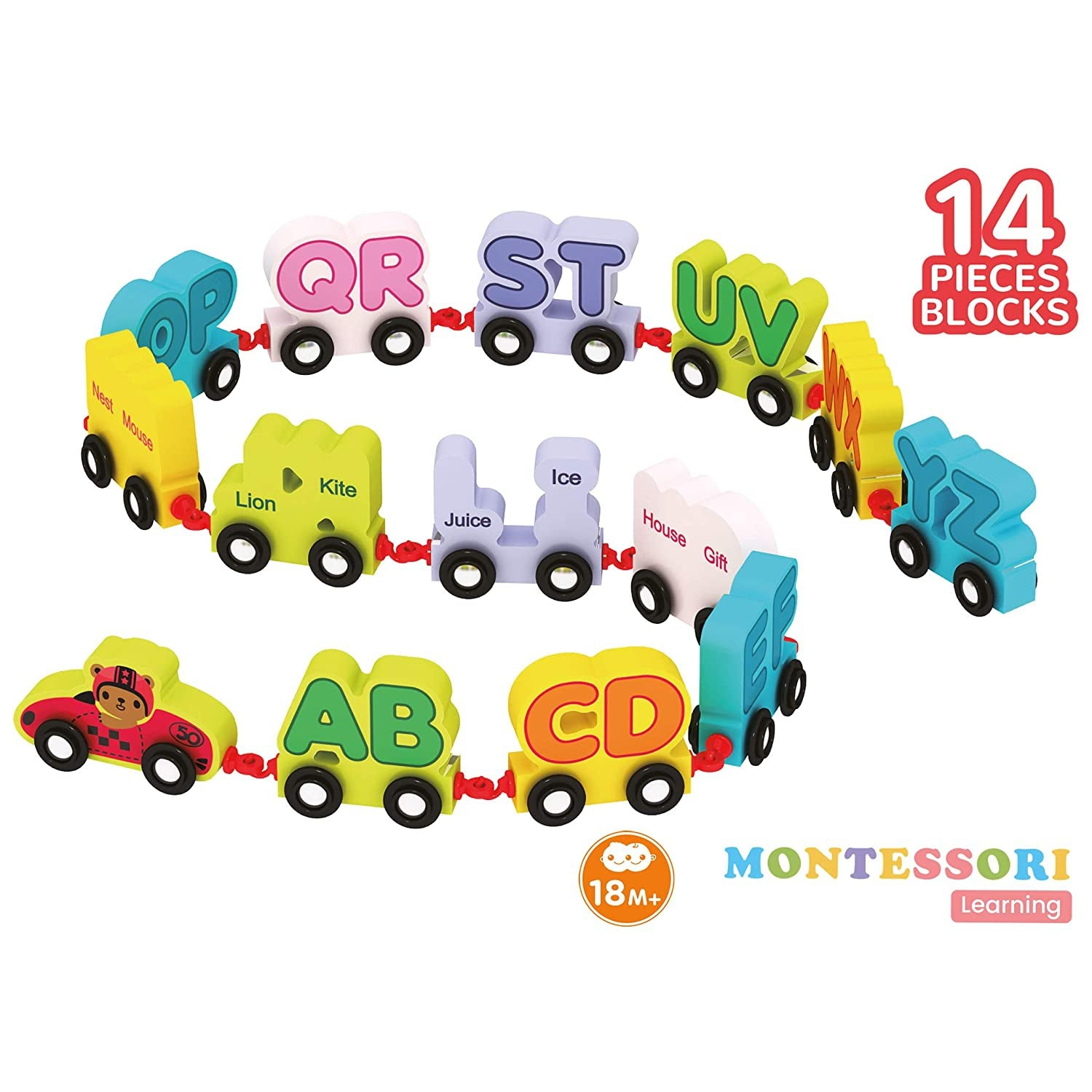 Orapple Wooden Alphabet Train Pull Along Toys For Kids