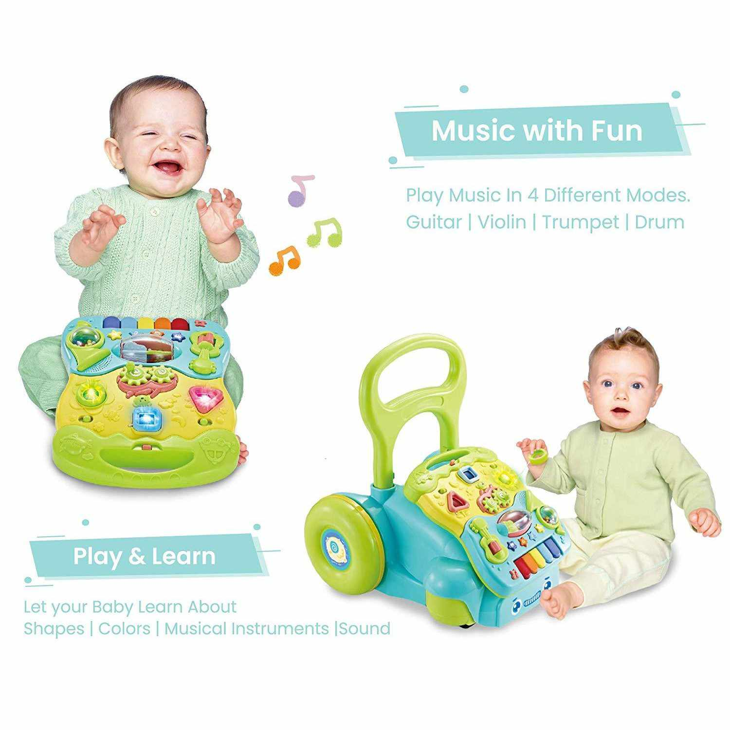 Orapple Toys by R for Rabbit - 5 in 1 Learning Push Baby Walker