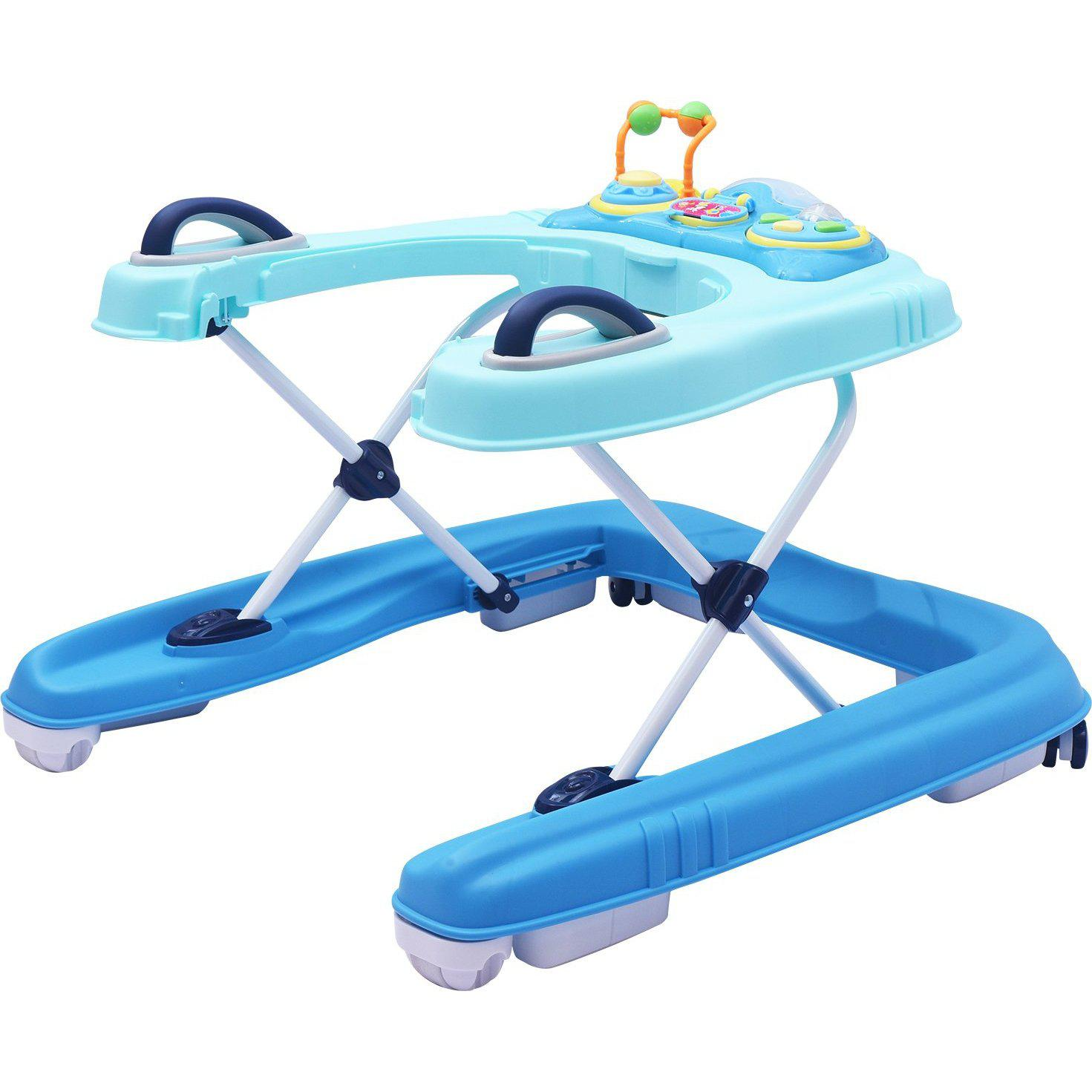 R for Rabbit Zig Zag Grand - The Anti Fall 3 in 1 Baby Walker Cum Push Walker for Babies with Adjustable Height and Musial Toy Bar(Blue)