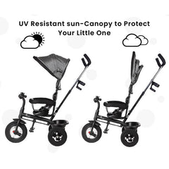 R for Rabbit Tiny Toes Sportz Baby Tricycle for Kids with Parental Control & Sun Proof Canopy