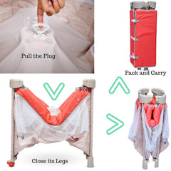 R for Rabbit Hide and Seek  Smart Folding Baby Bed Cot for Kids of 0 to 3 years