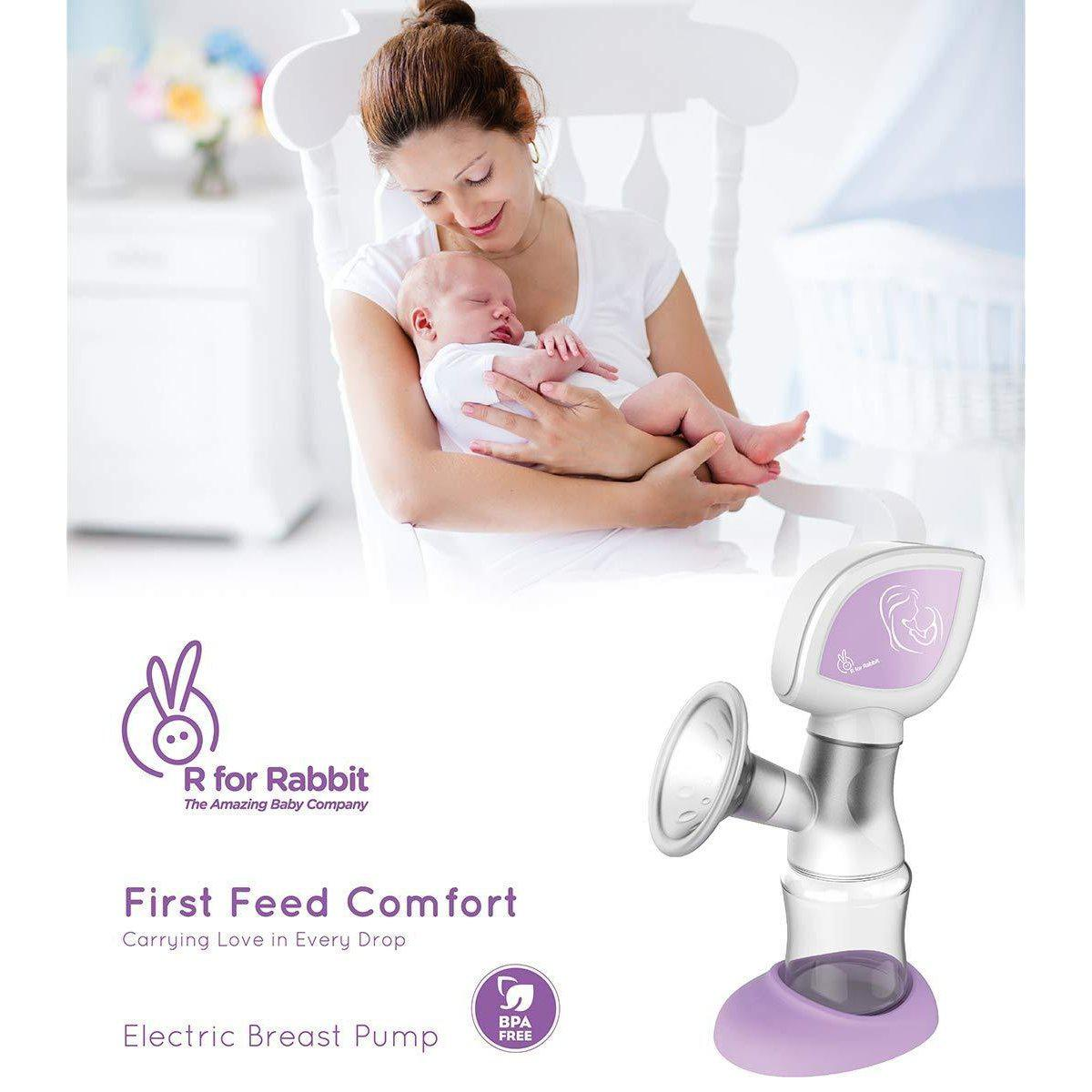 R for Rabbit First Feed Comfort Electric Breast Pump - Most Safe and Comfortable Breast Pump for Mothers (Purple) …