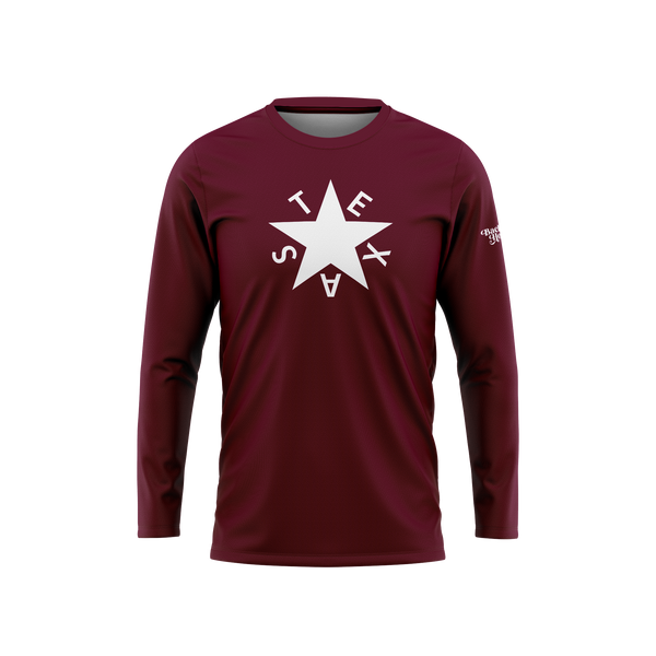 Maroon First Republic of Texas Flag Long Sleeve Performance Shirt