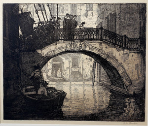 Karl Albert Buehr: Venice etching by Chicago Impressionist, Karl Albert Buehr