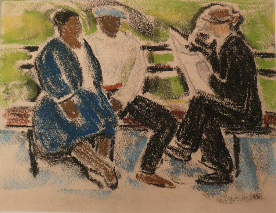 Ethel Ashton: UNTITLED - PARK BENCH WITH COUPLE AND NEWSPAPER READER