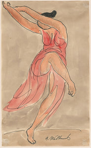 Abraham Walkowitz: Isadora Duncan dancing in a red dress
