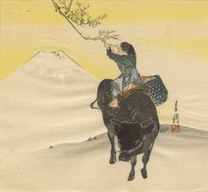 Ogata GEKKO: Boy on an Ox, Picking the First Spring Blossom