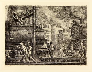 Reginald Marsh: Erie R.R. Locos Watering, 1934