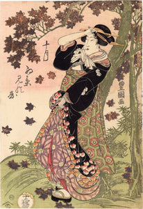 Utagawa Toyokuni I: Toyokuni I: Beauty Beneath a Maple Tree