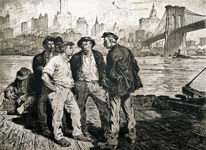 Martin Lewis: Dock Workers under the Brooklyn Bridge