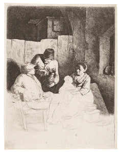 Bega, Cornelis, Mother and Child Seated in an Inn, Etching