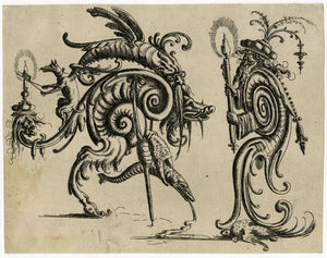 Jamnitzer, Christoph: Grotesque with two hybrid gristly creatures facing each other