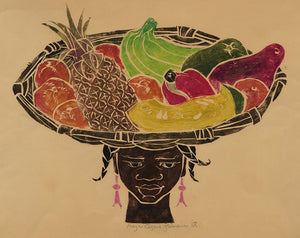 Moya Cozens: Jamaican Girl with the Wide Fruit Basket