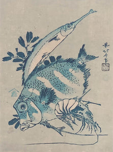Katsushika Hokusai: Two fish and a shrimp