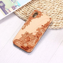 Load image into Gallery viewer, Henna Mandala Floral Engraved Wood Phone Case