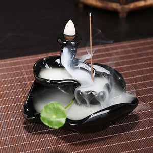 Porcelain Waterfall Backflow Incense Burner/ Cone Sticks Holder