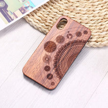 Load image into Gallery viewer, Bamboo Engraved Cosmic Mandala iPhone Case
