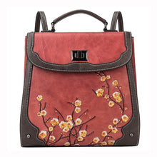Load image into Gallery viewer, Genuine Leather Women Plum Flower Bag