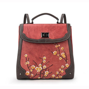 Genuine Leather Women Plum Flower Bag