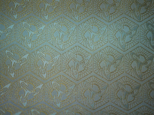 "TSURU KIKKOU Turtle Shell Pattern ""FASHION FACE COVER"" Blue and Gold 西陣織マスク フェイスマスク"