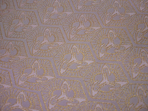 "TSURU KIKKOU Cranes Turtle Shell Pattern  ""FASHION FACE COVER"" Pink and Gold Nishijin Silk Brocade"