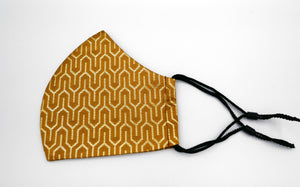 "TSURU KIKKOU Turtle Shell Pattern ""FASHION FACE COVER""  Rikyu-brown and Gold 西陣織マスク フェイスマスク"