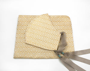 """COVER POUCH"" OBI KIKKOU Turtle Shell Pattern Blue and Gold Nishijin Silk Brocade カバーポーチ 小物入れ"