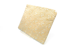 """COVER POUCH"" TSURU KIKKOU Cranes Turtle Shell Pattern Blue and Gold Nishijin Silk Brocade 西陣織ポーチ カバーポーチ 小物入れ"